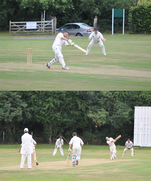 Rob Bailey and James Newman batting at Nags Head Meadow Great Missenden