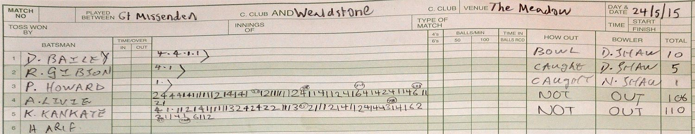 scorebook for pelis against wealdstone